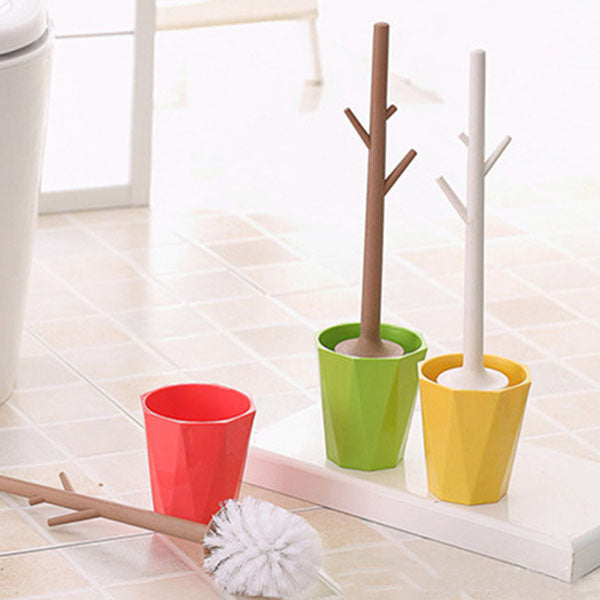 Creative tree-shaped toilet brush set detachable bathroom toilet brush toilet brush cleaner (red)
