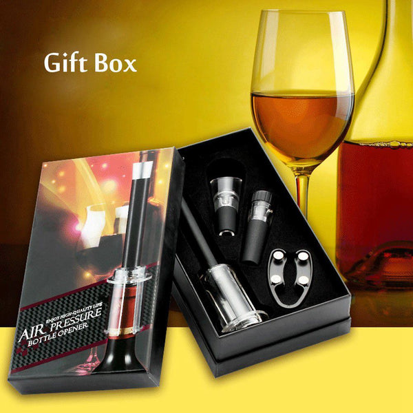 4 Pcs Wine Opener Set, Air Pressure Pump Bottle Opener Gift Box Includes Wine Opener Kit Vacuum Stopper and Wine Pourer Tool