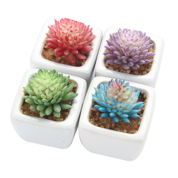 4Pcs/Set Artificial Succulent Plants + White Square Ceramic Pots succulent Plants Plants Potted Landscapeplante Garden Deco