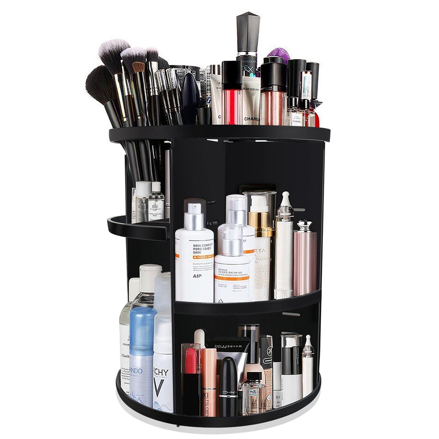 360 Degree Rotating MakeUp Organizers and Storage Box Gift For Women Adjustable Multi-Function Cosmetic Case Brush Holder Stand Countertop