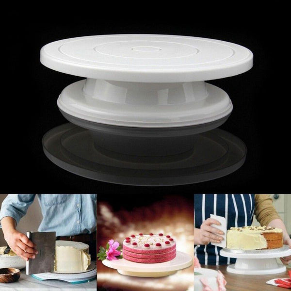 1 Pcs 28cm Kitchen Cake Decorating Icing Rotating Turntable Cake Stand White Plastic Fondant DIY Baking Tools