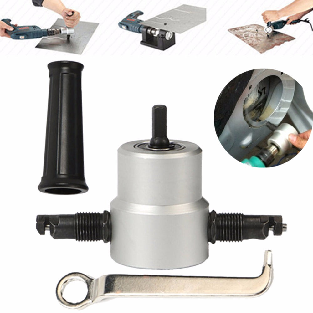 Professional Nibble Metal Cutter Double Head Sheet Nibbler Metal Cutter Drill Tool Attachment Metal Plate Open Hole Drill