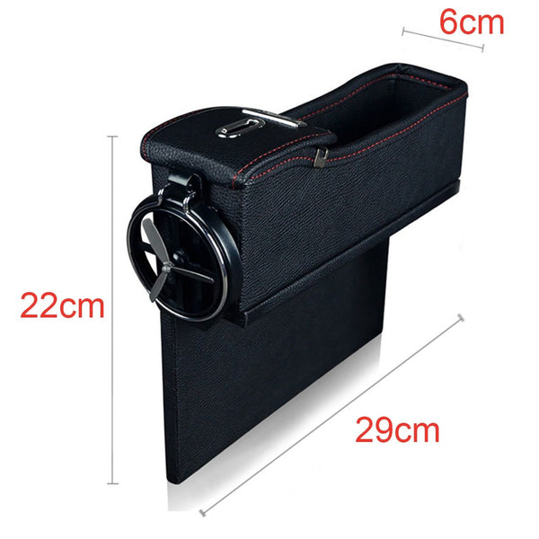 Black car seats on the left/right side of the storage box sandwich box PU leather multi-function mobile phone storage box with a drink cup holder