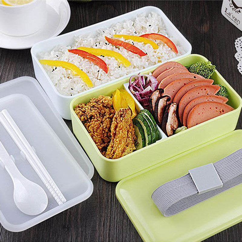 Double Layer Lunch Box Food Storage Container Microwave Oven Bento Boxes Dinnerware Lunchbox-green