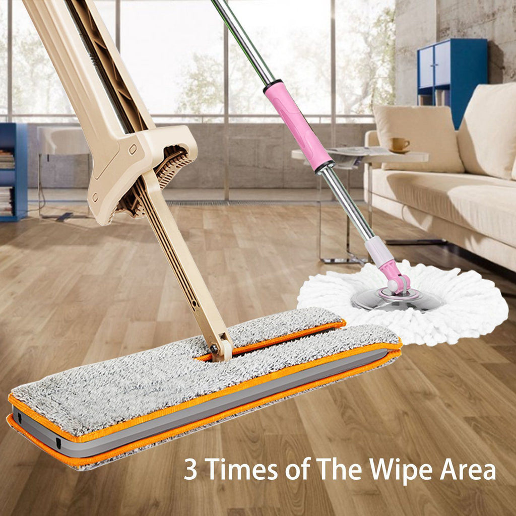 360 Degree Double Sided Non Hand Washing Flat Mop Rotating Head Easy Magic Microfiber Spinning Floor Cloth Free Hands Mop