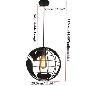 Black creative loft continental single retro globe chandelier Modern metallic lounge cafe casual ceiling lamp