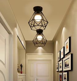 Vintage Industrial Rustic Flush Mount Ceiling Light, Metal Pendant Lighting Lamp Fixture for Hallway