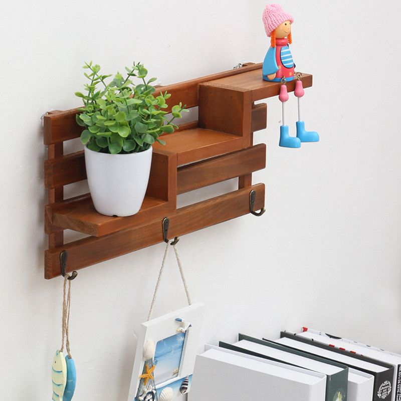 Solid Wood Wooden Wall Mounted Vintage Retro Rack 3 Hanger Hooks Floating Storage Shelf Display Rack Home Decor