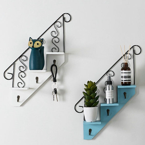 Creative Wooden Rack Staircase Storage Retro Style Flower Shelf Bonsai Wall Mounted Display Bookshelf Ladder Racks Hooks blue