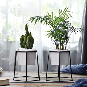 Planter Pots Indoor Hexagon Modern Garden Ceramic Round Bowl with Metal Air Plant Stand for Succulent Planter Cactus (White + Black)