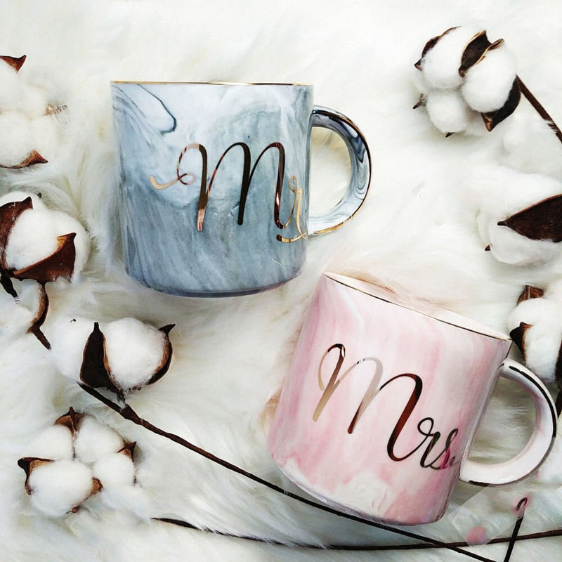 Marble Ceramic Mugs Gold Plating Couple Lover's Gift Morning Mug Milk Coffee Tea Breakfast Creative Porcelain Cup Pink(straight cup MRS)