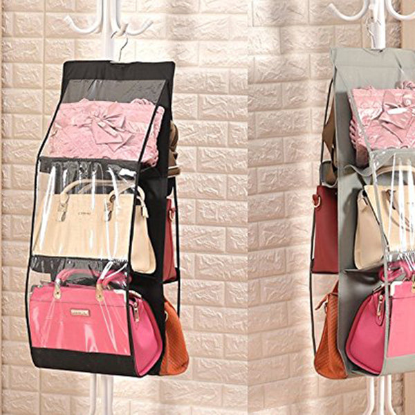 Hanging Handbag Dust-Proof Storage Bag Wardrobe with 6 Large Pockets