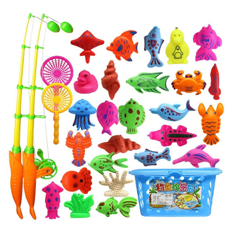 32 Piece Magnetic Fishing Toy Rod Model Oceanic Net Fish Baby Bath Time Water Fun Interactive Toys