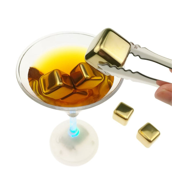 6pcs 304 Stainless Steel Whiskey Wine Stones Reuseble Cooler Ice Cubes Ball gold