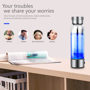 SEIZON Portable Hydrogen Generator Ionizer For Pure H2 Rich Hydrogen Water Bottle Electrolysis Hidrogen 350ML Drink Hydrogen Water USB