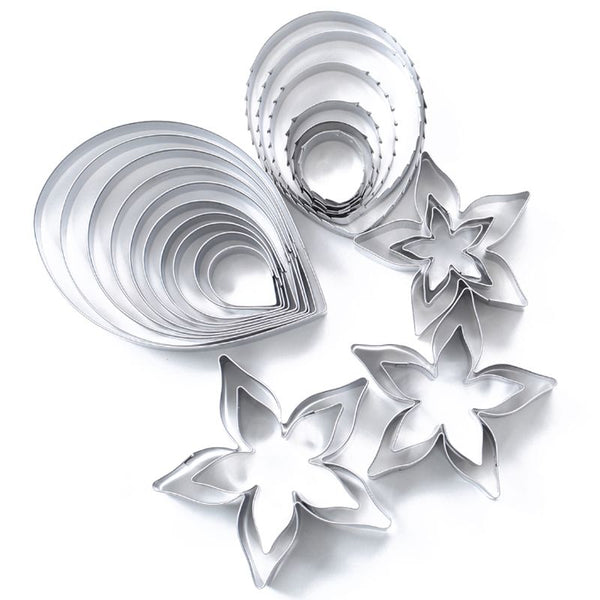 23pc Rose Cookie Cutter Stainless Steel Pastry & Biscuit Cutter Cake Mold Petal Calyx Leaf Fondant Tools