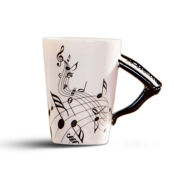 Creative novelty piano handle ceramic cup free spectrum coffee milk tea cup personality mug unique musical instrument gift cup