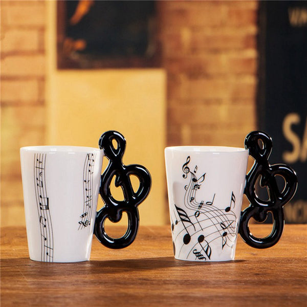 Creative Novelty note Handle Ceramic Cup Tabs Coffee Milk Cup Personality Mug Unique Instrument Gift Cup