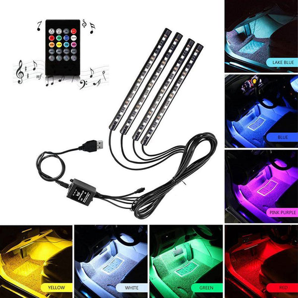 Car LED Strip Light, RGB 4pcs 48LED Multicolor Music Car Interior Lights Under Dash Lighting Waterproof Kit With Sound Active Function and Wireless Remote Control, DC 12V