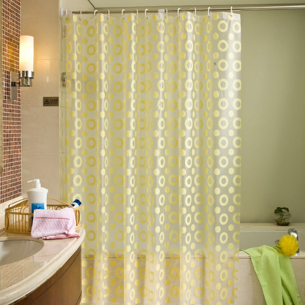 PEVA Waterproof And Antibacterial Printing Yellow Circle Shower Curtain Curtains 180 x 200cm