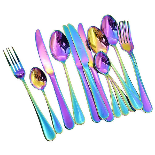 16 Pcs Tableware Set Colorful Romantic Dinner Set Rainbow Flatware Set