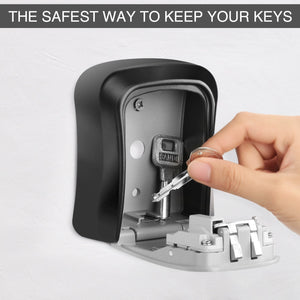 Key Lock Box Wall Mounted Aluminum alloy Key Safe Box Weatherproof 4 Digit Combination Key Storage Lock Box Indoor Outdoor