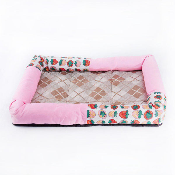 Summer Ice Silk Cool Breathable Pet Dog Cat Sleeping Bed Mats Nest Bed Cushion House Kennel Pink strawberry L