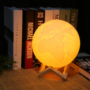 3D Light Print Led Earth Lamp 3 Color Night Light Pat Switch with Wood bracket Rechargeable Usb Home Decor(15cm)