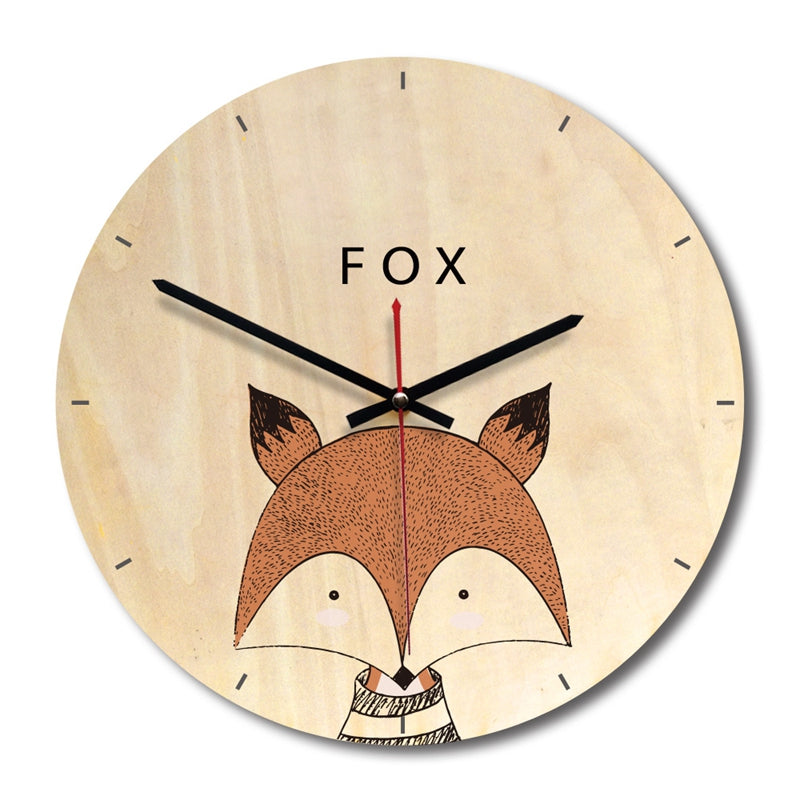 Wooden wall clock European style living room wood printing wall clock creative clock Section B