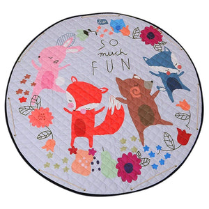 Round Rugs Baby Play Mat Toys Storage Organizer,Nursery Rugs Large polyester Anti-slip Cartoon Animal Baby Floor Mat Game Mat Area with Drawstring for Kids Room Living Room (Foxes)