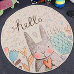 Round Rugs Baby Play Mat Toys Storage Organizer,Nursery Rugs Large polyester Anti-slip Cartoon Animal Baby Floor Mat Game Mat Area with Drawstring for Kids Room Living Room (Rabbit)
