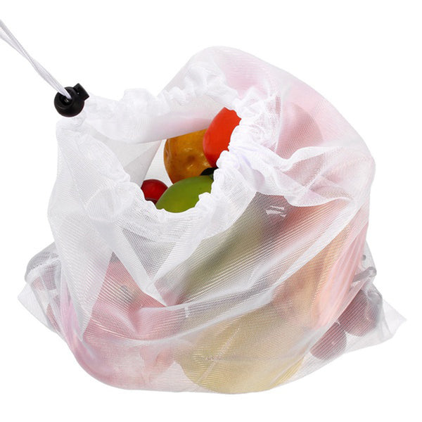 10PCS Reusable Produce Bags Rope Mesh Vegetable Fruit Storage Pouch 30x35cm