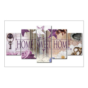 5D Diamond Painting Full Drill Sweethome Rhinestone Embroidery Picture Home Decor (Purple)