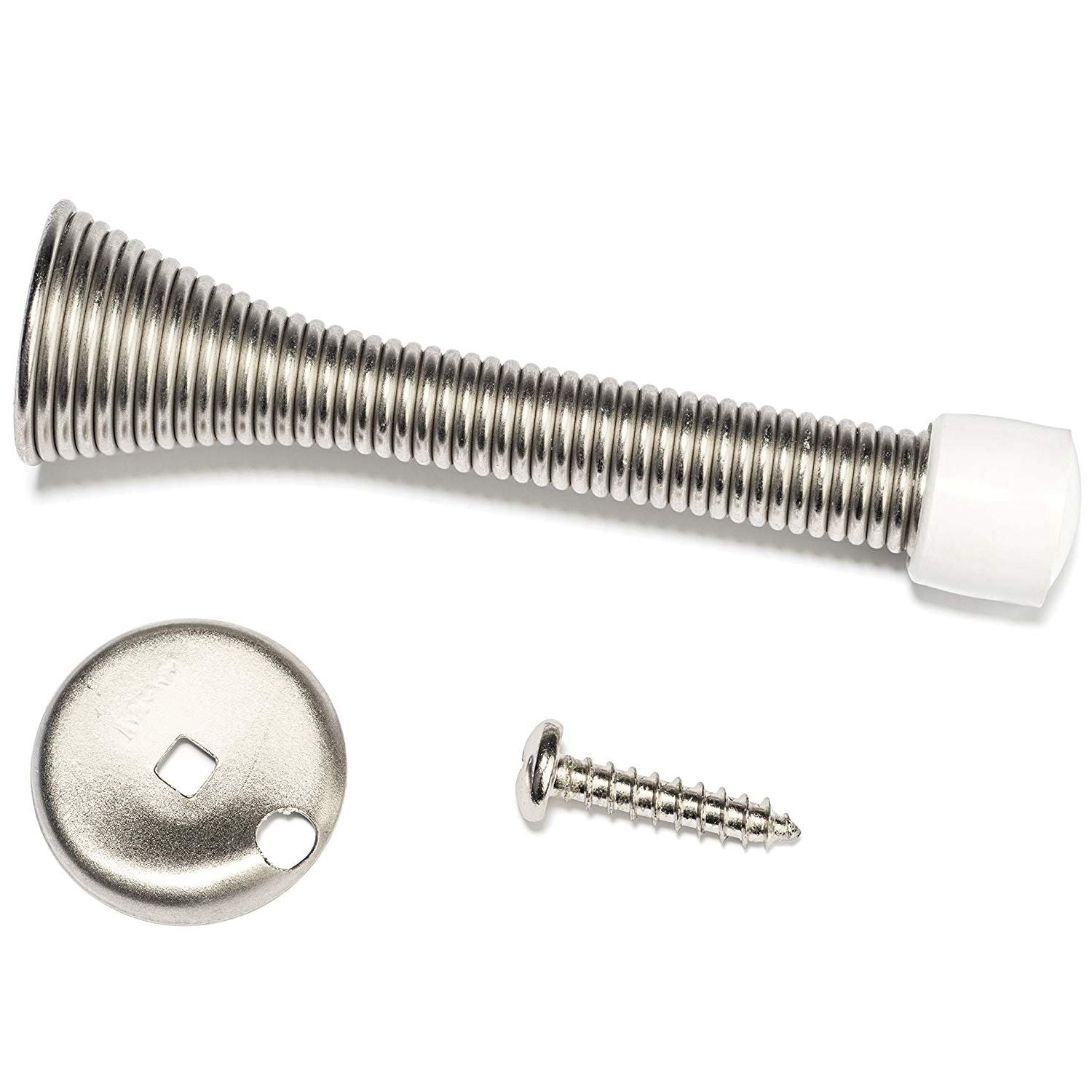 12 Pack Satin Nickel Door Stoppers - 3 inch Flexible Heavy Duty RustProof Screw-In Stainless Steel Spring Stops with White Rubber Bumper Tips - Protects Walls from Damage