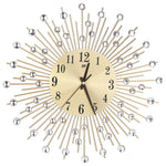 Wall Clock Diamonds Decorative Round Clock Metal Living Room Decor Quiet Quartz Clocks Modern Minimalist Clocks(Gold)