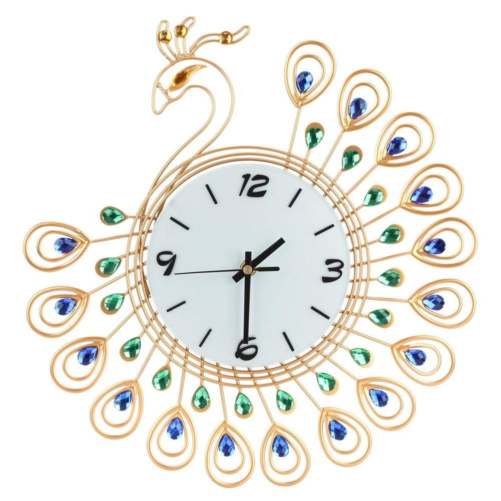 Luxury Artificial Crystal Diamond Large Wall Clock Metal Living Room Wall Clock Home Art Decoration (#3 Gold Peacock)