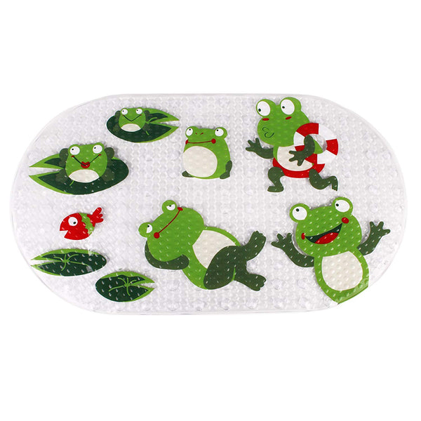 Original Bath tub and Shower Mat for Kids Anti Bacterial,Phthalate Free,Latex and Machine Washable Cartoon Pattern Mats Materials,(Baby 27x15 Inch, Frog)