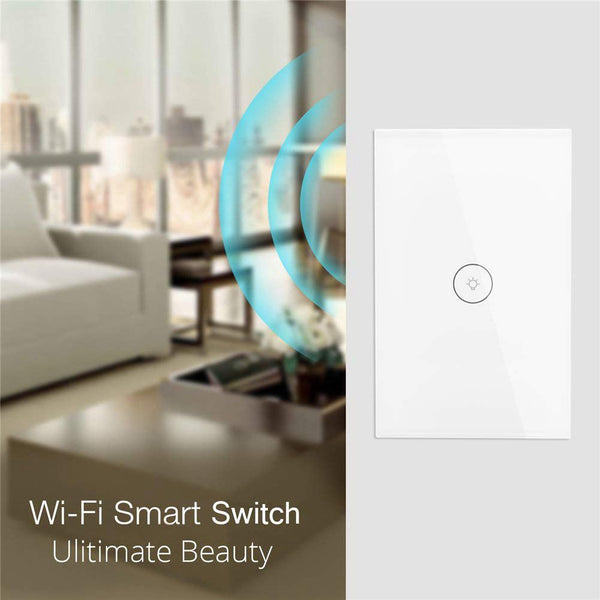 WiFi Smart Wall Light Switch Glass Touch-Panel Wireless Remote Control by Mobile APP Anywhere Compatible with Alexa,Timing Function No Hub Required (Wall Switch 1 Gang)