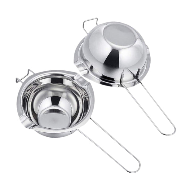 2 Pieces Stainless Steel Universal Double Spouts,Baking Insert Tools,Melting Pot for Butter Chocolate Cheese Caramel(18/8 Steel), Silver