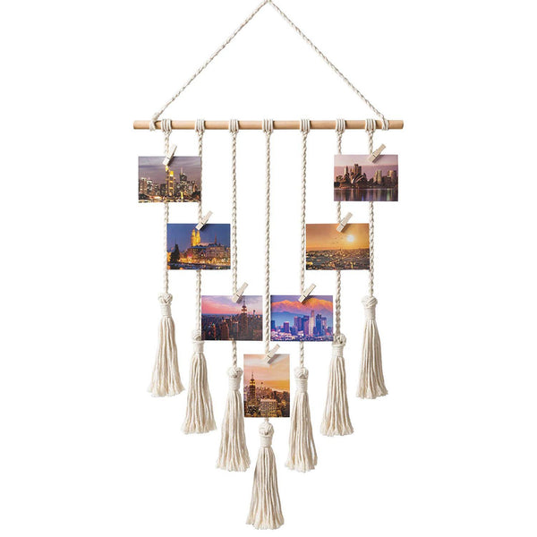 Hanging Photo Display Macrame Wall Hanging Pictures Organizer Home Decor, with 25 Wood Clips