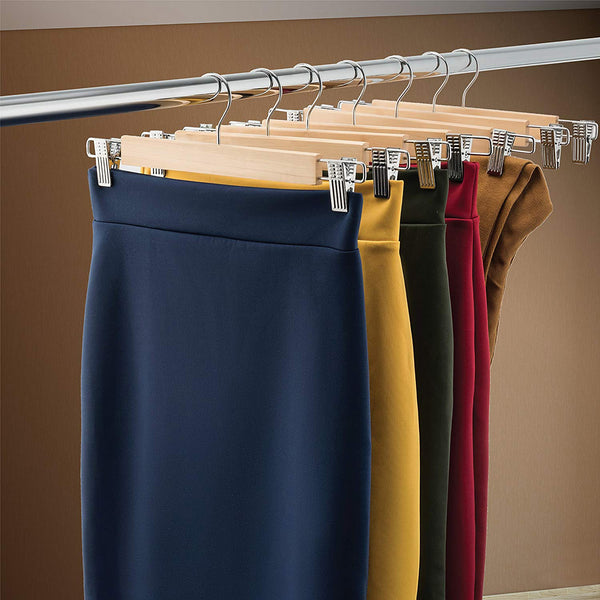 Wooden Skirt Hangers with Adjustable Clips (Pack of 10) Non-Slip Trouser Hanger Natural Finish Lotus Wood Pants hangers, 360 Degree Swivel Hook for Skirts Jeans Slacks Pants