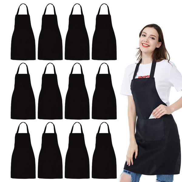 12 Pack Bib Apron - Unisex Black Apron Bulk with 2 Roomy Pockets Machine Washable for Kitchen Crafting BBQ Drawing