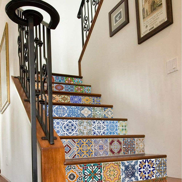 Peel and Stick Tile Backsplash Stair Riser Decals DIY Tile Decals Mexican Traditional Talavera Waterproof Home Decor Staircase Decal Stair Mural Decals