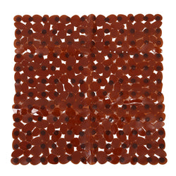 Pebble Non-Slip Suction Bath Mat - Square Mat for Shower or Tub, Amber