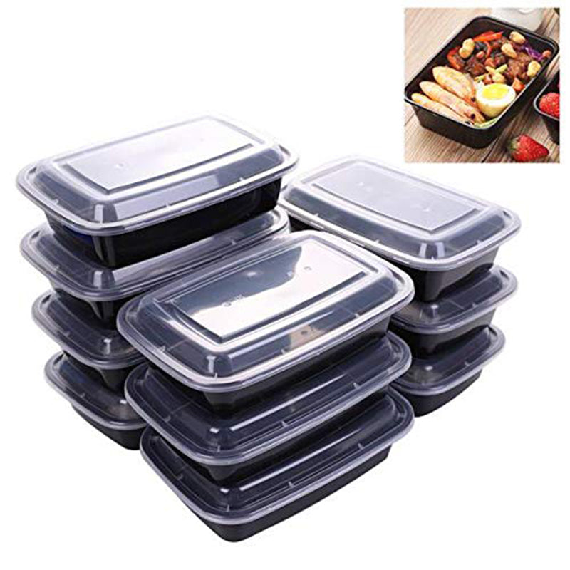 10 Pack One grids Reusable Meal Prep Containers | Plastic Food Storage Trays with Airtight Lids | Microwavable, Freezer and Dishwasher Safe | Stackable Lunch Boxes