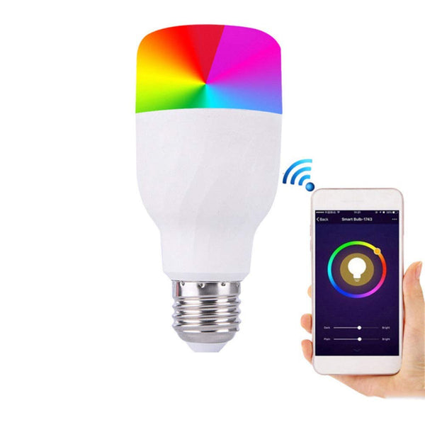 Smart LED WiFi Light Bulb, 11W 600LM E27 Dimmable RGB Colour Changing Screw Bulbs 16 Colours, Work with Amazon Alexa Google Home, Smartphone Remote Control Via App, AC85-265V