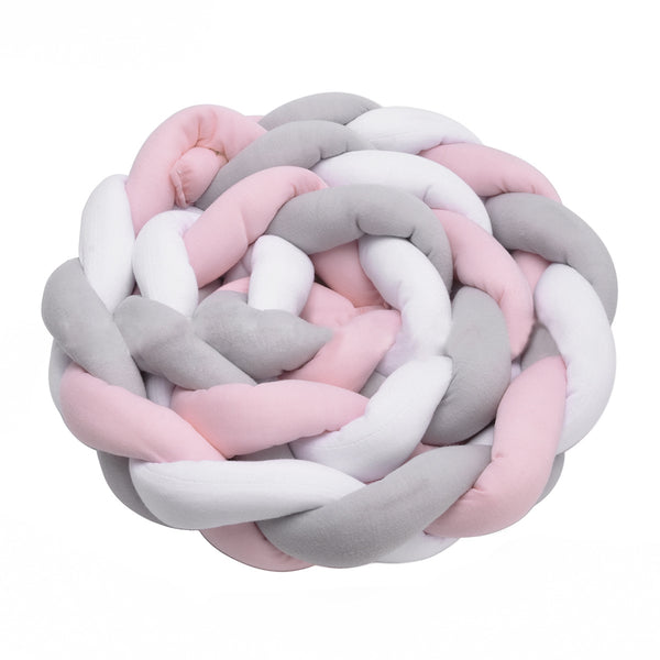 Baby Crib Bumper Knotted Braided Plush Nursery Cradle Decor Newborn Gift Pillow Cushion Junior Bed Sleep Bumper (2 Meters, White-Gray-Pink)