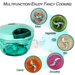 Mini Garlic Chopper Grinder - Manual Processor for Vegetables, Garlic, Onions (Blue)