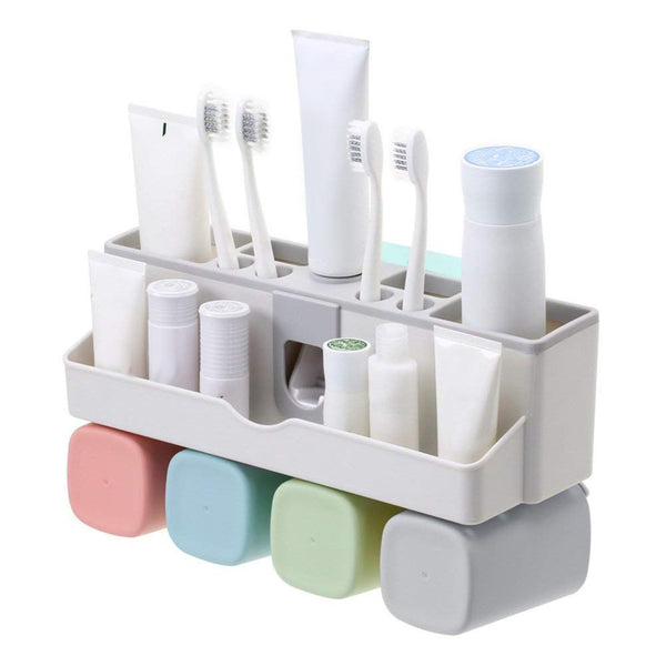 Toothbrush Holder Set, Save Space No Drill Wall Mount Toothpaste Dispenser and Multi-Functional Slots Bathroom Organizer with Water Drainer