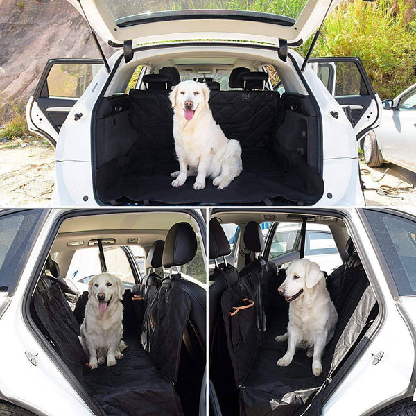 Pet Seat Cover, Dog Car Seat Cover with Mesh Viewing Window & Storage Pocket, Dog Hammock Waterproof Non-Scratch Large Backseat Cover, Nonslip Backing and Seat Anchors for Cars